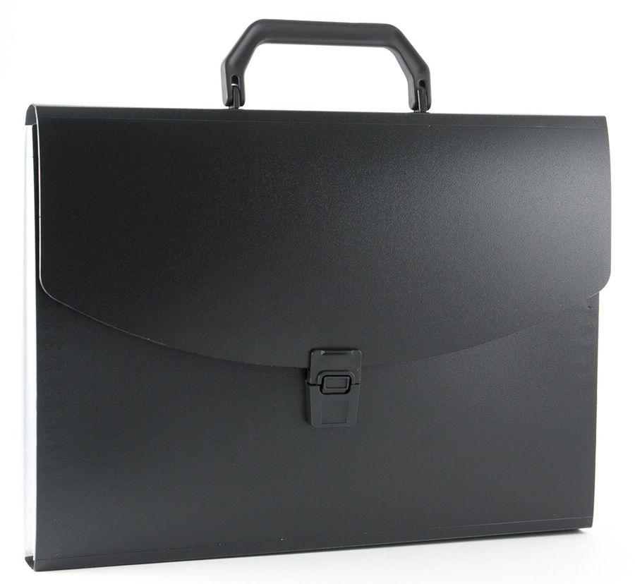 Портфель Бюрократ -BPP6BLCK 6 отдел. A4 пластик 0.7мм черный