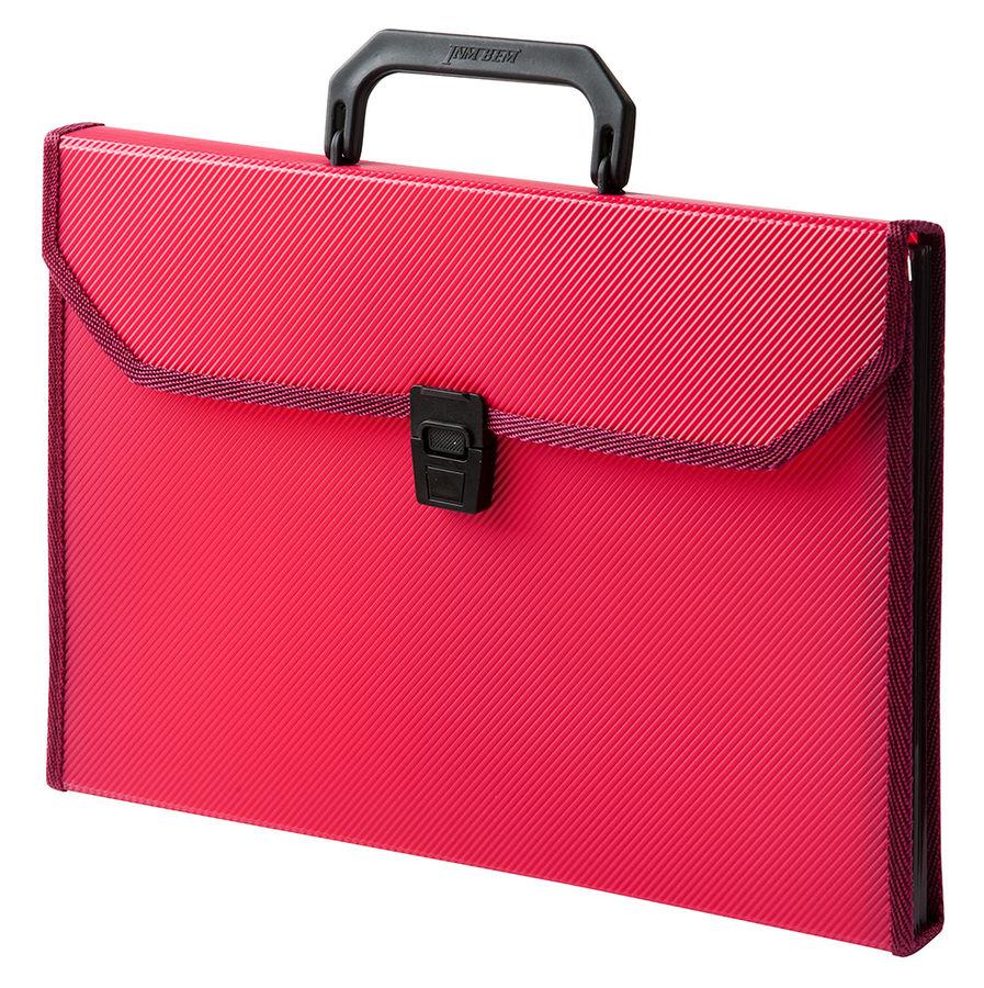 Портфель Бюрократ -BPP6TLRED 6 отдел. A4 ребрист. поверхн. с окантовкой пластик 0.7мм красный