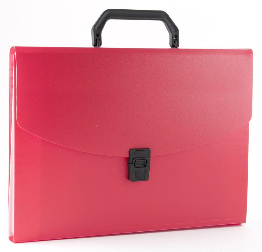Портфель Бюрократ -BPP13RED 13 отдел. A4 пластик 0.7мм красный