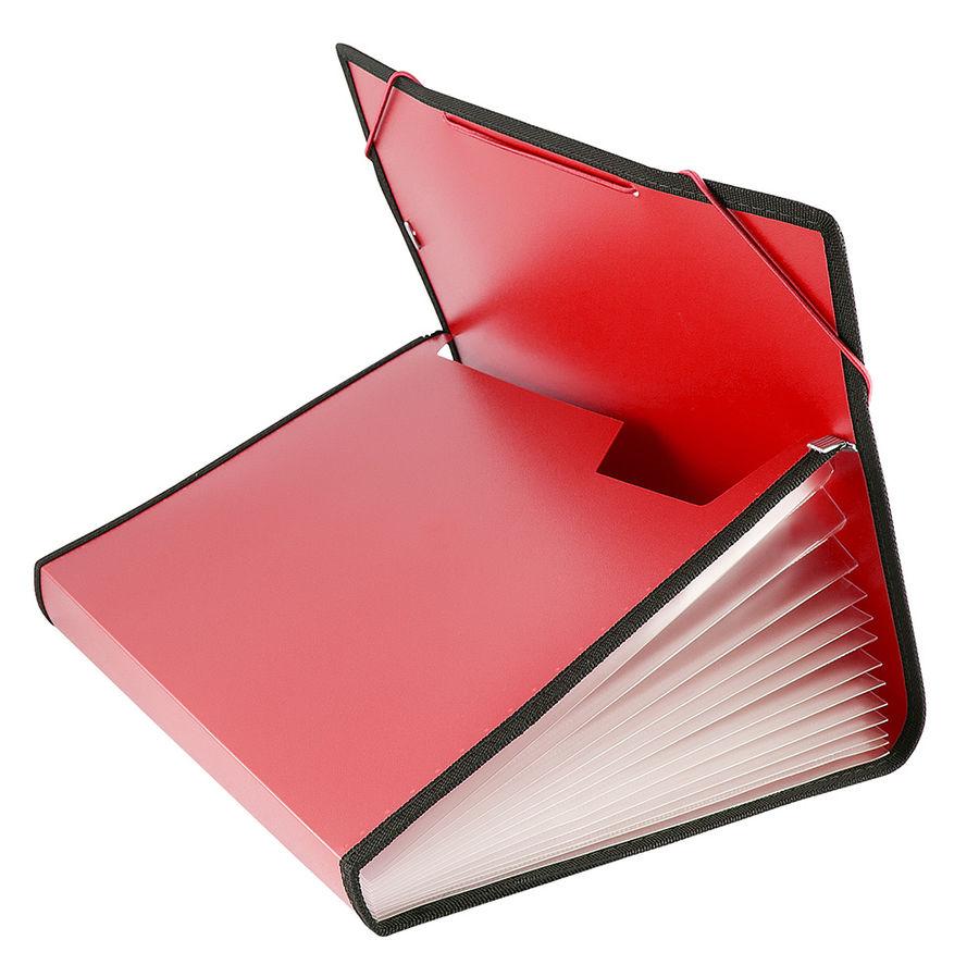 Портфель на резинке Бюрократ -BPR13LRED 13 отдел. A4 с окантовкой пластик 0.7мм красный