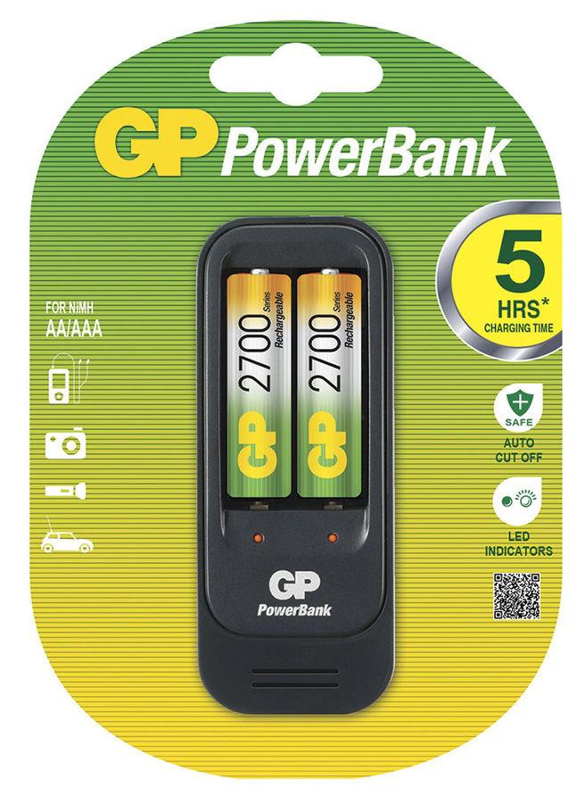 Аккумулятор + зарядное устройство GP PowerBank PB560GS270,  2 шт. AA,  2700мAч