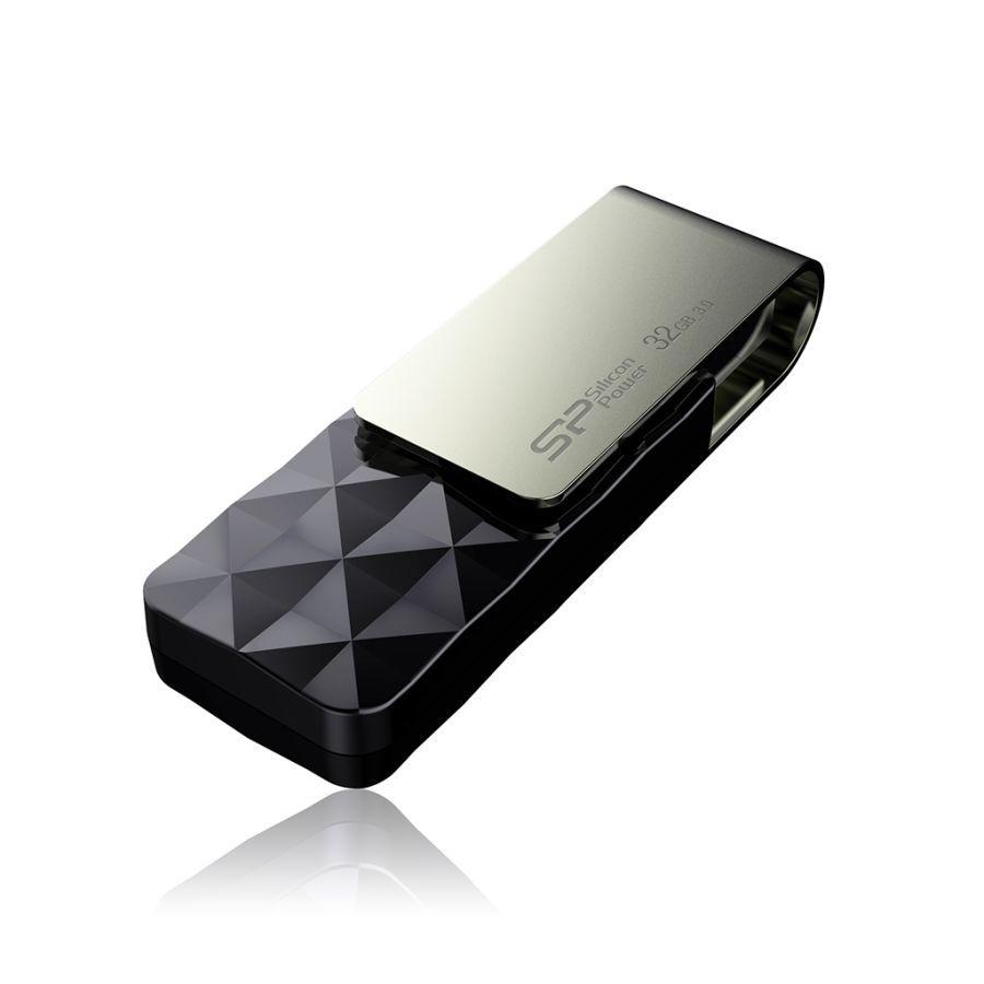 Флешка USB SILICON POWER Blaze B10 32Гб, USB3.0, черный и серый [sp032gbuf3b30v1k]