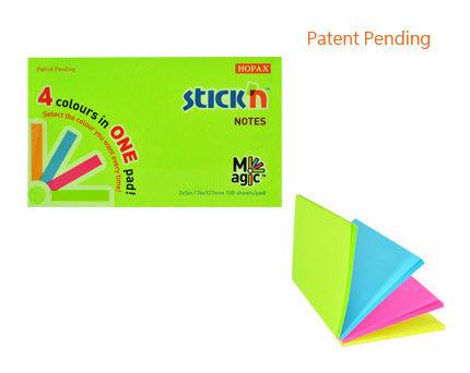Блок самоклеящийся бумажный Stick`n Magic 21573 76x127мм 100лист. 70г/м2 неон 4цв.в упак.