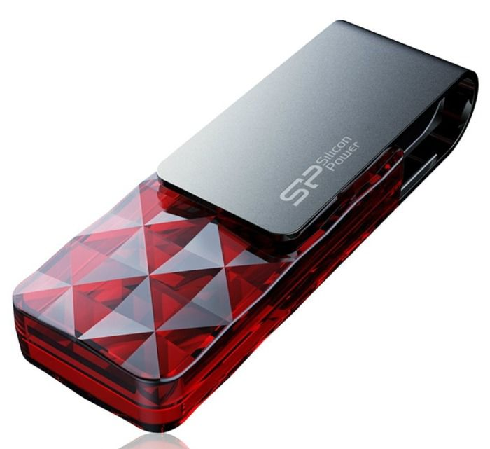 Флешка USB SILICON POWER Ultima U30 8Гб, USB2.0, красный и серый [sp008gbuf2u30v1r]