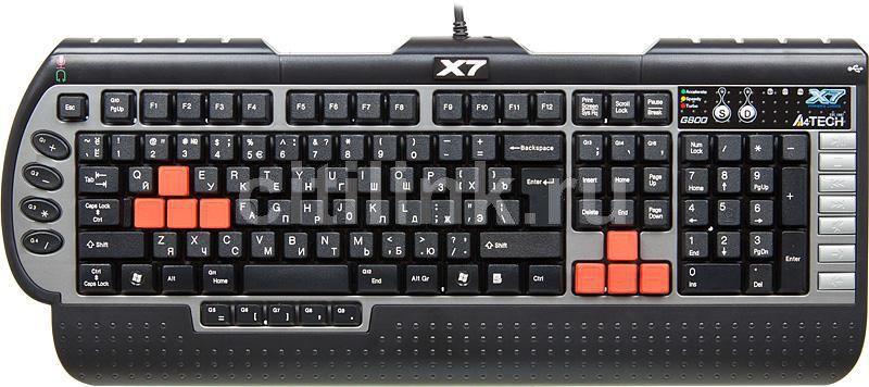 Клавиатура A4 X7-G800MU,  PS/2, c подставкой для запястий, черный серый