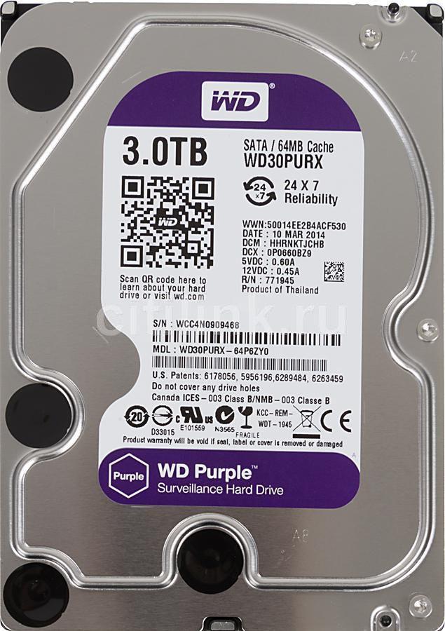 Жесткий диск WD Purple WD30PURX,  3Тб,  HDD,  SATA III,  3.5