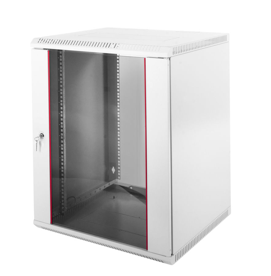 Шкаф коммутационный ЦМО (ШРН-Э-18.500) 18U 600x520мм пер.дв.стекл серый