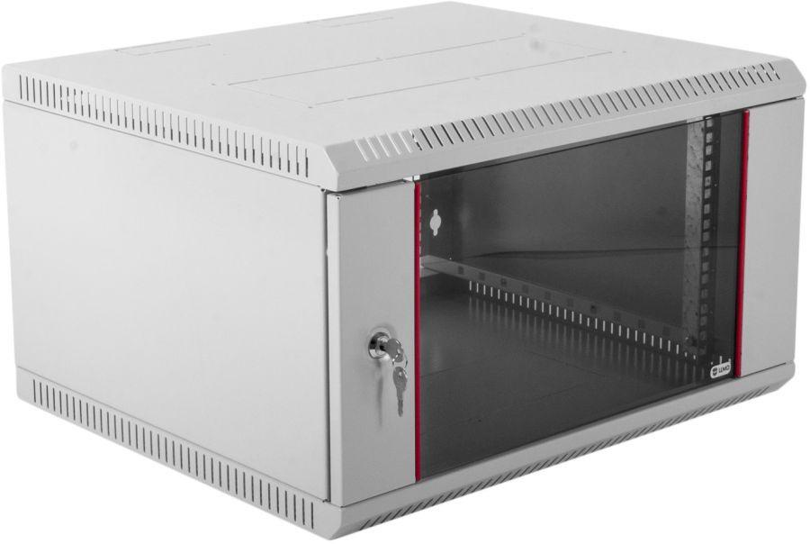 Шкаф коммутационный ЦМО (ШРН-Э-6.500) 6U 600x520мм пер.дв.стекл несъемн.бок.пан. серый
