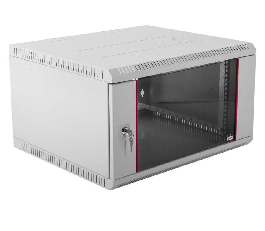 Шкаф коммутационный ЦМО (ШРН-Э-6.650) 6U 600x650мм пер.дв.стекл несъемн.бок.пан. серый