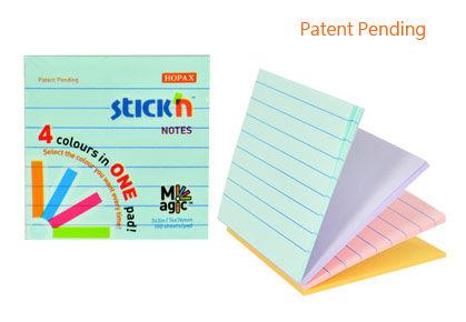 Блок самоклеящийся бумажный Stick`n Magic 21577 76x76мм 100лист. 70г/м2 пастель 4цв.в упак. в линейк