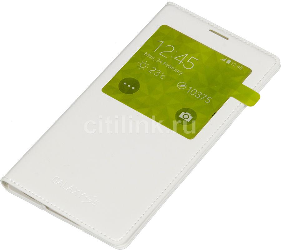 Чехол (флип-кейс) SAMSUNG S View, для Samsung Galaxy S5, белый [ef-cg900bwegru]