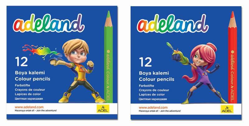 Карандаши цветные Adel ADELAND 211-2325-100 шестигран. 3мм 12цв. короткие коробка