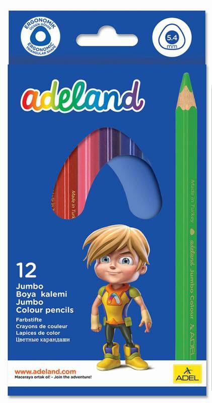 Карандаши цветные Adel ADELAND JUMBO 211-7510-110 трехгран. 5.4мм 12цв. коробка/европод.
