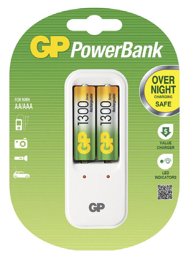 Аккумулятор + зарядное устройство GP PowerBank PB410GS130,  2 шт. AA,  1300мAч