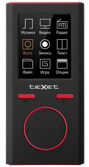 MP3 плеер TEXET Т-30 flash 8Гб черный/красный [124056]