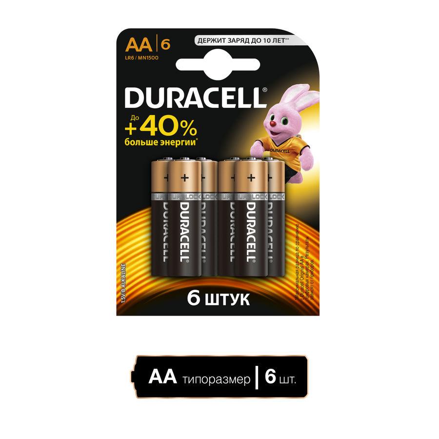 Батарея DURACELL Basic LR6-6BL,  6 шт. AA
