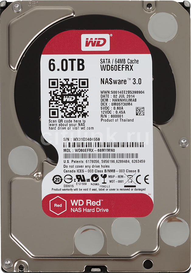 """Жесткий диск WD Red WD60EFRX,  6Тб,  HDD,  SATA III,  3.5"""""""