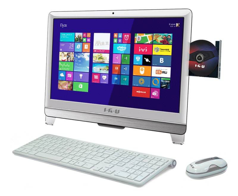 Моноблок IRU T2108, Intel Core i3 3240, 4Гб, 500Гб, Intel HD Graphics, DVD-RW, Windows 8.1 Professional, белый [947259]