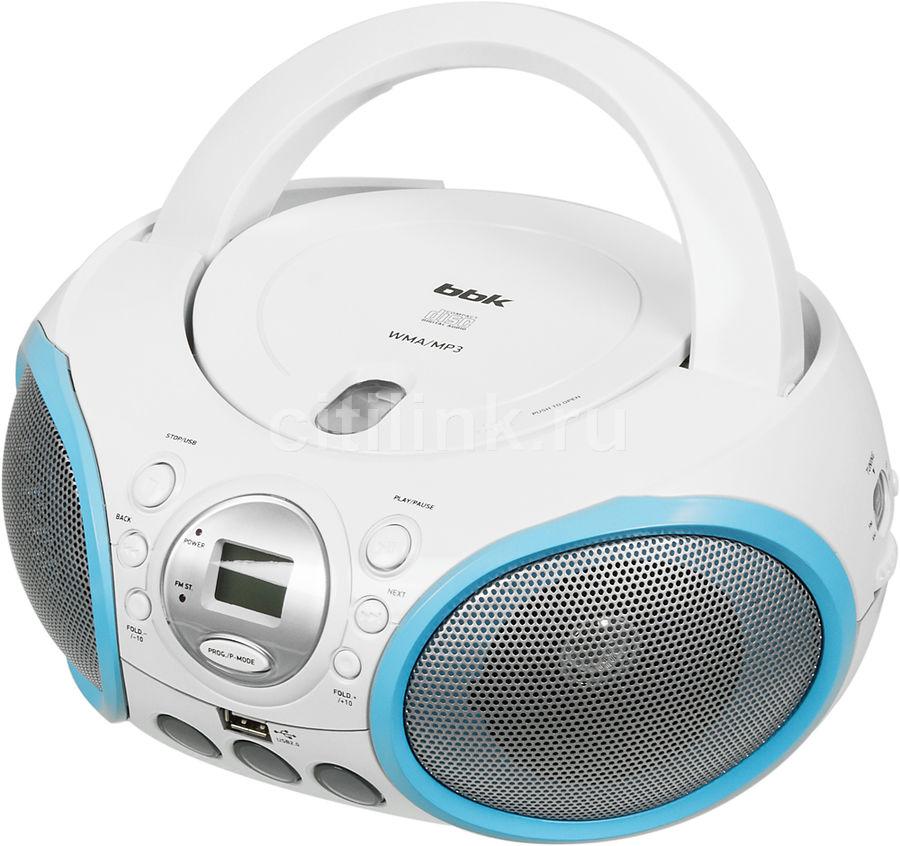 Аудиомагнитола BBK BX150U,  белый и голубой