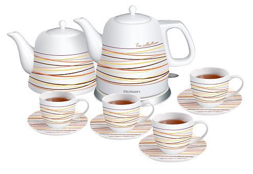 Чайный набор ROLSEN RK-1211CSN, 1200Вт, белый