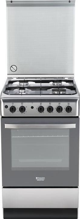 Газовая плита HOTPOINT-ARISTON H5GG1F (X) RU,  газовая духовка,  серебристый