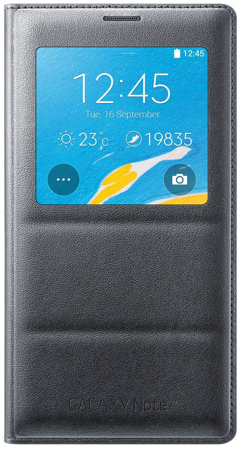 Чехол (флип-кейс) SAMSUNG S View Cover, EF-CN910BCEGRU, для Samsung Galaxy Note 4, черный