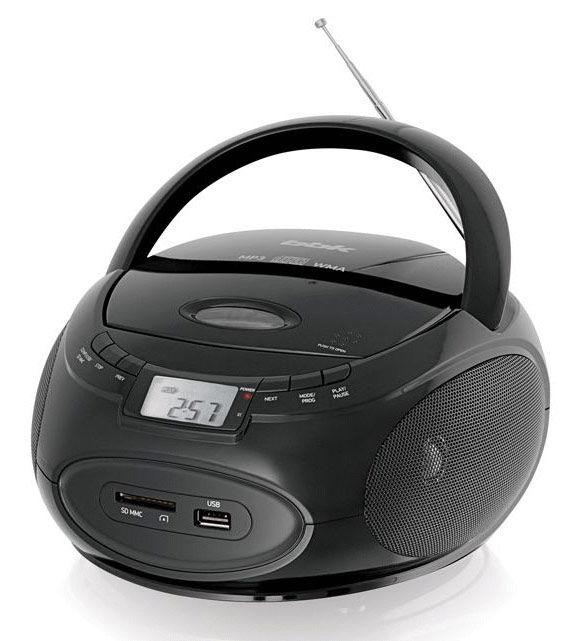 Аудиомагнитола BBK BX109U,  черный металлик