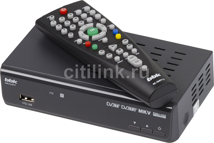 Ресивер DVB-T2 BBK SMP244HDT2,  темно-серый