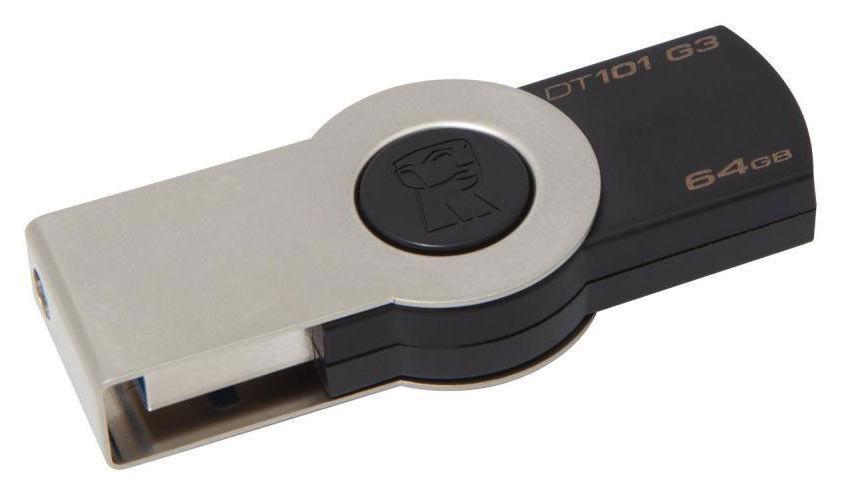 Флешка USB KINGSTON DataTraveler 101 G3 64Гб, USB3.0, черный [dt101g3/64gb-yan]