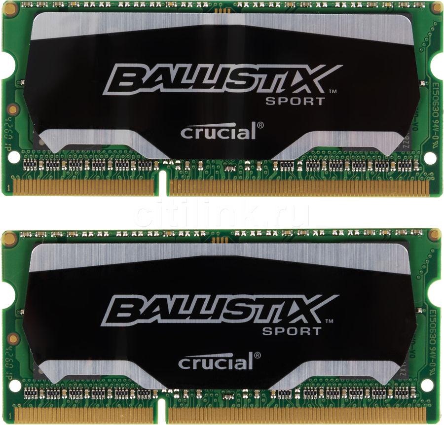 Модуль памяти CRUCIAL Ballistix Sport BLS2C8G3N18AES4CEU DDR3L -  2x 8Гб 1866, SO-DIMM,  Ret
