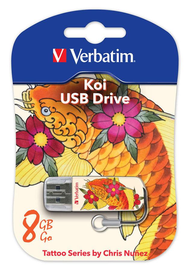 Флешка USB VERBATIM Store n Go Mini Tattoo Koi 8Гб, USB2.0, белый и узор купить по цене 490 рублей в интернет-магазине СИТИЛИНК