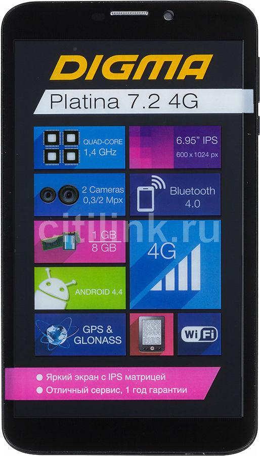 Планшет DIGMA Platina 7.2 4G,  1GB, 8GB, 3G,  4G,  Android 4.4 черный [ns6902ql]