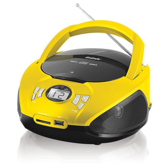 Аудиомагнитола BBK BX105U,  черный и желтый