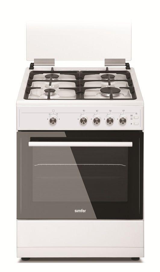 Газовая плита SIMFER F66GW42001,  газовая духовка,  белый