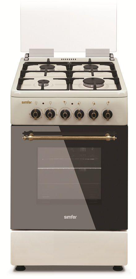 Газовая плита SIMFER F56EO45001,  электрическая духовка,  бежевый