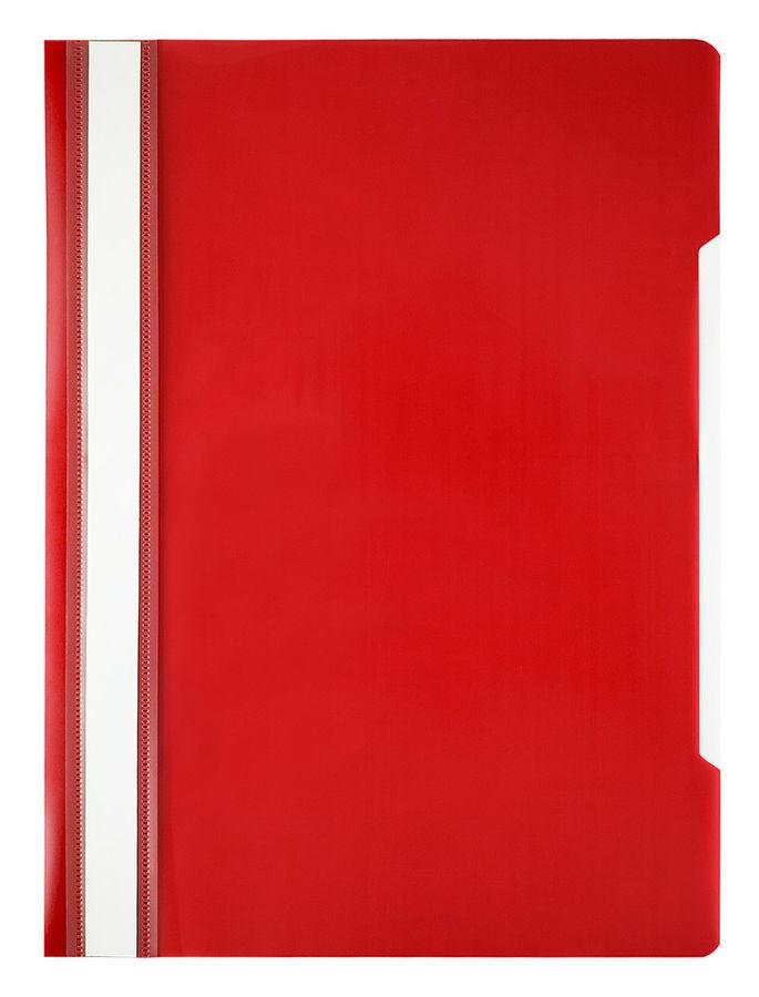 Папка-скоросшиватель Бюрократ Economy -PSE20RED A4 прозрач.верх.лист пластик красный 0.10/0.12